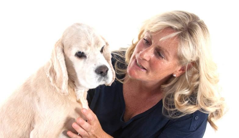 Kerrie Searle, Animal Communicator, with her dog Darcy