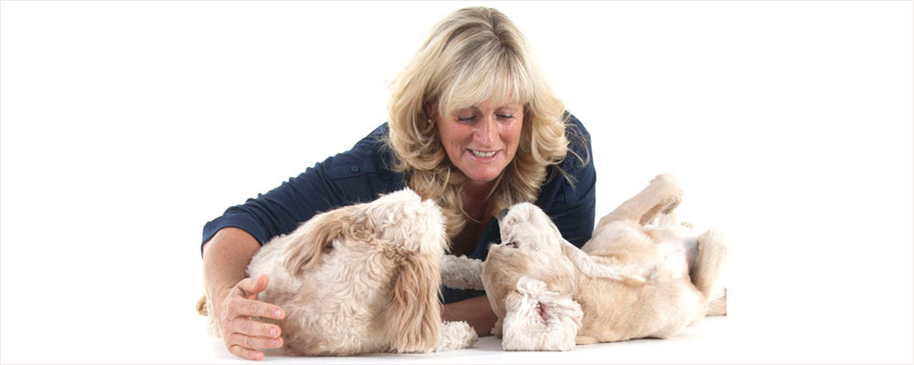 Kerrie Searle, Animal Communicator, with her dogs Darcy and Daisy